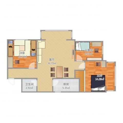 航南大厦3室1厅1卫1厨103.00㎡户型图