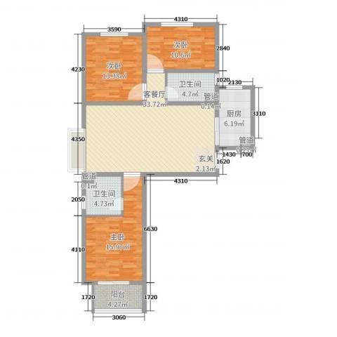 铂宫时代3室2厅2卫1厨117.00㎡户型图