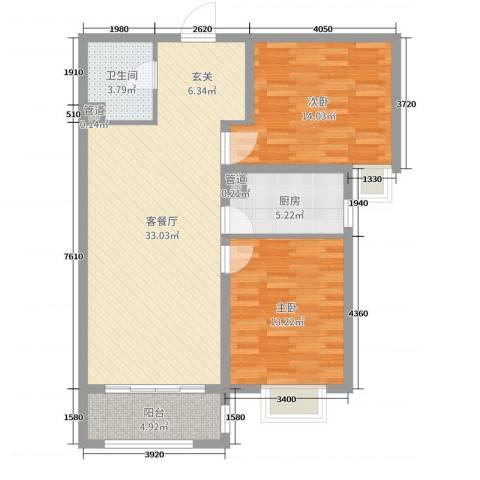 铂宫时代2室2厅1卫1厨93.00㎡户型图