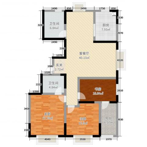 万邦・翰林郡3室2厅2卫1厨134.00㎡户型图