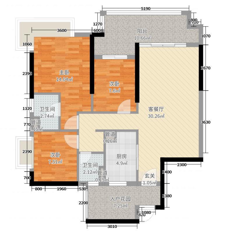 锦绣海湾城105.00㎡3期A户型3室3厅2卫1厨