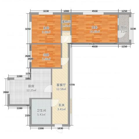 太平桥小区3室2厅1卫1厨77.00㎡户型图