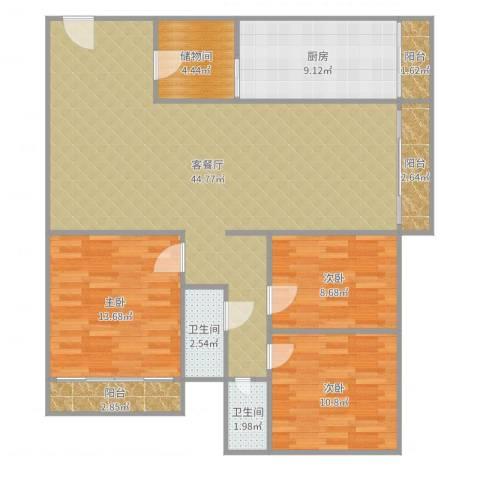 东骏豪苑3室2厅2卫1厨129.00㎡户型图
