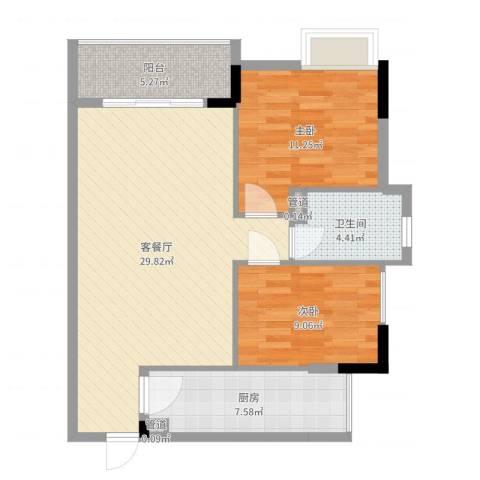翠华花园二期2室2厅1卫1厨85.00㎡户型图