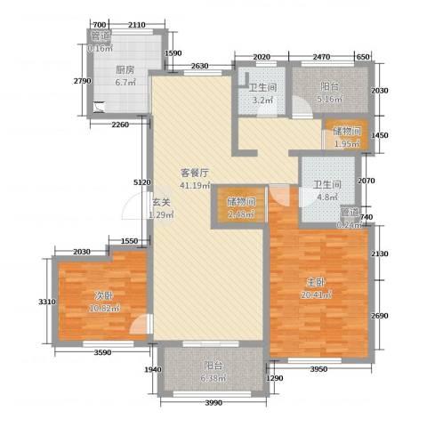 朗诗绿色街区2室2厅2卫1厨130.00㎡户型图