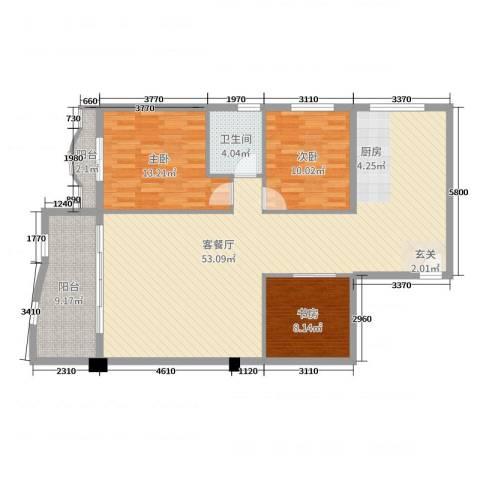 名苑华庭3室2厅1卫0厨120.00㎡户型图