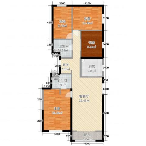 万科新里程4室2厅2卫1厨137.00㎡户型图