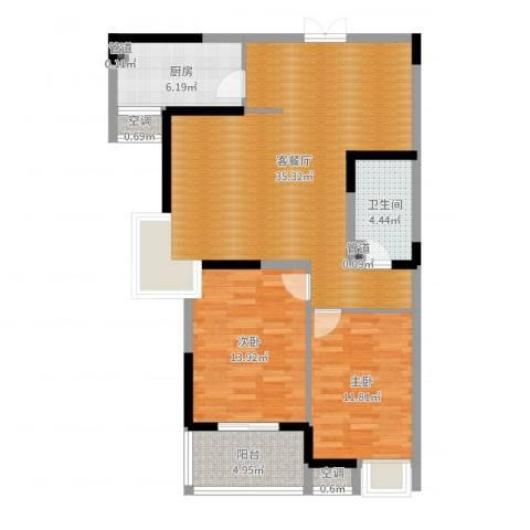 广厦水岸东方2室2厅1卫1厨98.00㎡户型图