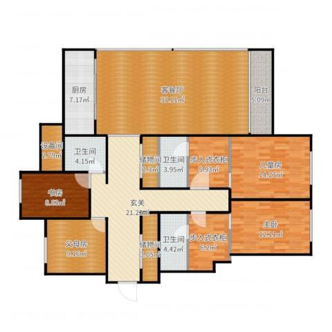 蠡湖香樟园3室2厅3卫1厨184.00㎡户型图