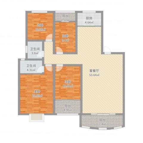 新世纪广场4室2厅2卫1厨168.00㎡户型图