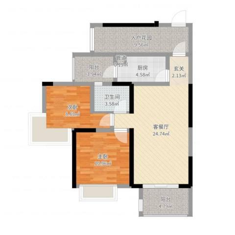 建曙高尔夫1号2室2厅1卫1厨89.00㎡户型图