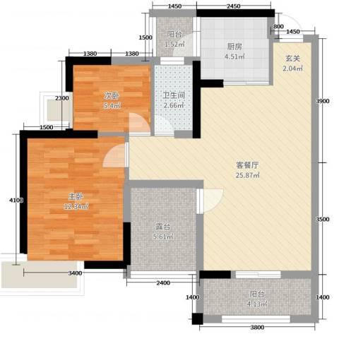 田禾卢浮公馆2室2厅1卫1厨80.00㎡户型图
