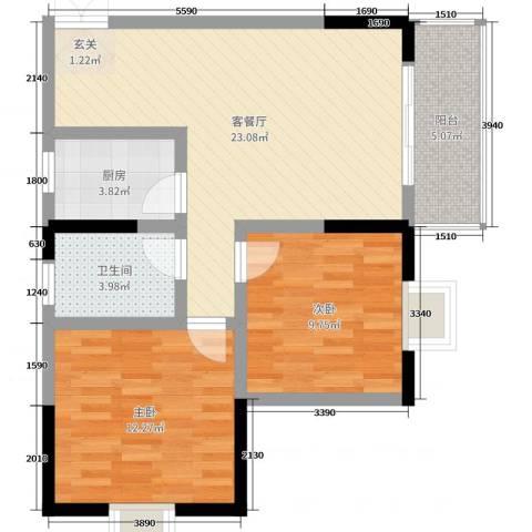 佳琪城市春天B区2室2厅1卫1厨79.00㎡户型图
