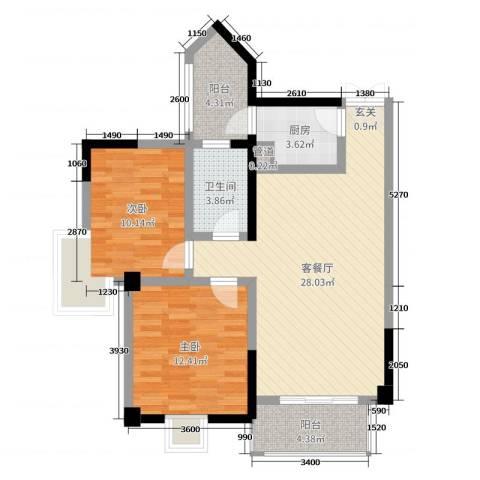 佳琪城市春天B区2室2厅1卫1厨88.00㎡户型图