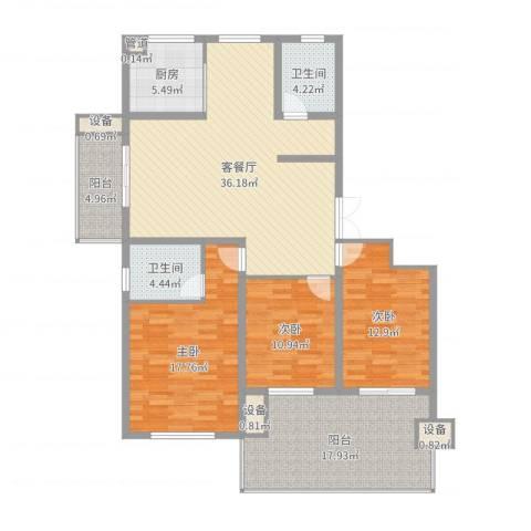佳源・名人国际花园3室2厅2卫1厨147.00㎡户型图