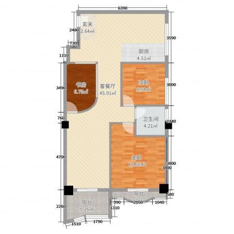 名苑华庭3室2厅1卫0厨97.00㎡户型图