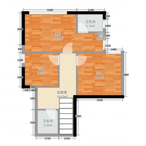 福星时代天骄3室0厅2卫0厨104.00㎡户型图