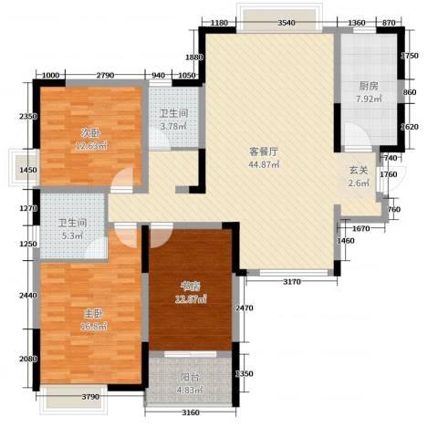 万邦・翰林郡3室2厅2卫1厨136.00㎡户型图