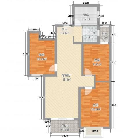 润德天悦城3室2厅1卫1厨106.00㎡户型图