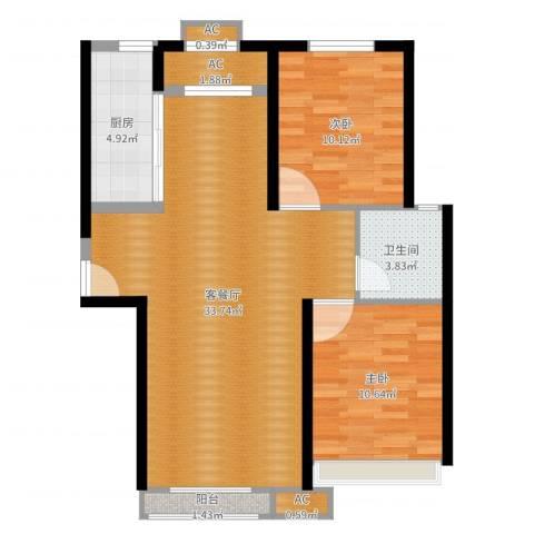 汤河铭筑2室2厅4卫1厨84.00㎡户型图