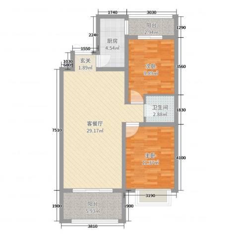 润德天悦城2室2厅1卫1厨91.00㎡户型图