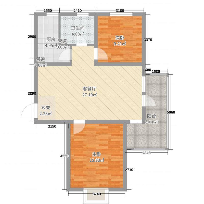 中铁秦皇半岛95.07㎡29#30#户型2室2厅1卫1厨
