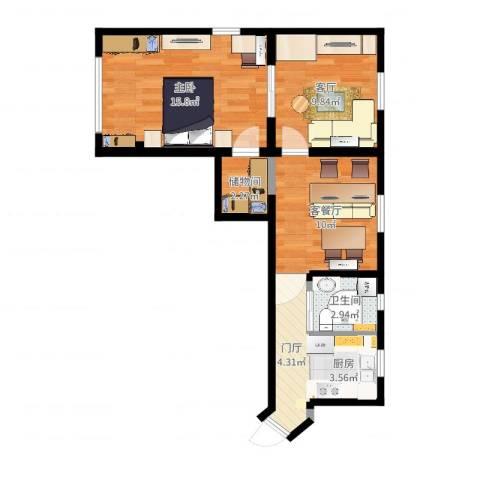 红旗教师公寓28号1室3厅1卫1厨61.00㎡户型图