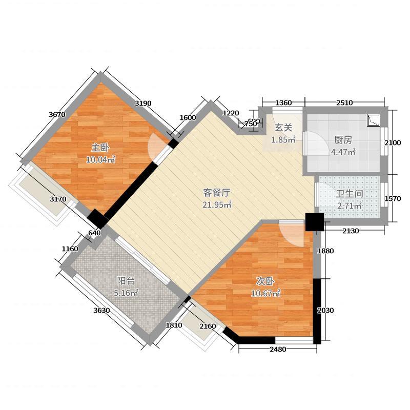 悦珑庄墅公馆69.01㎡6#0205户型2室2厅1卫1厨