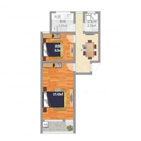 金桥新村四街坊台儿庄小区2室1厅1卫1厨55.00㎡户型图