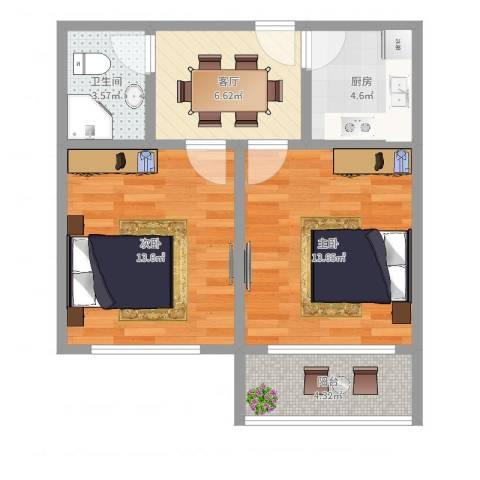 泰和路309弄小区2室1厅1卫1厨46.35㎡户型图