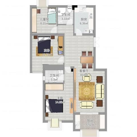 丹枫园2栋1单元102室3室2厅2卫1厨106.00㎡户型图