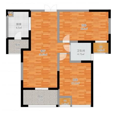 天安曼哈顿2室1厅3卫2厨91.60㎡户型图