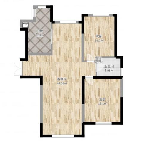 万顺空港融和广场雅仕阁公寓2室2厅1卫1厨106.00㎡户型图