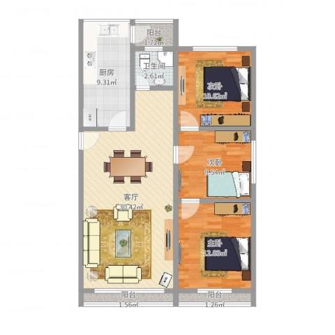 怒江南苑3室1厅1卫1厨99.00㎡户型图