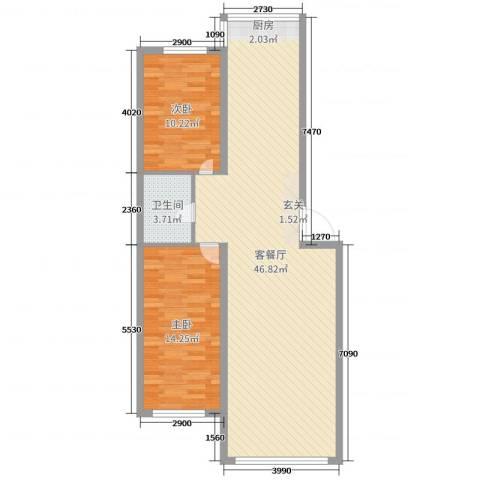 铭丰渤海明珠家园2室2厅1卫0厨91.00㎡户型图