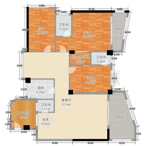 东堤湾花园3室2厅3卫1厨196.00㎡户型图