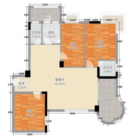 东堤湾花园3室2厅2卫1厨130.00㎡户型图