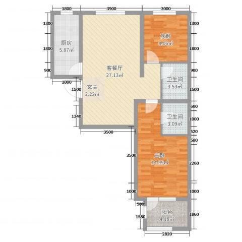 天洲视界城2室2厅2卫1厨99.00㎡户型图