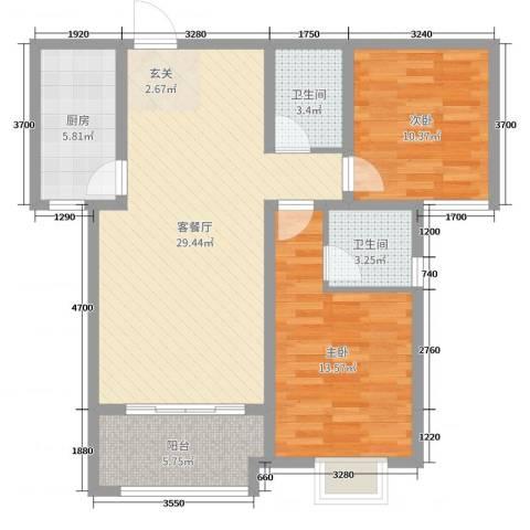天洲视界城2室2厅2卫1厨109.00㎡户型图