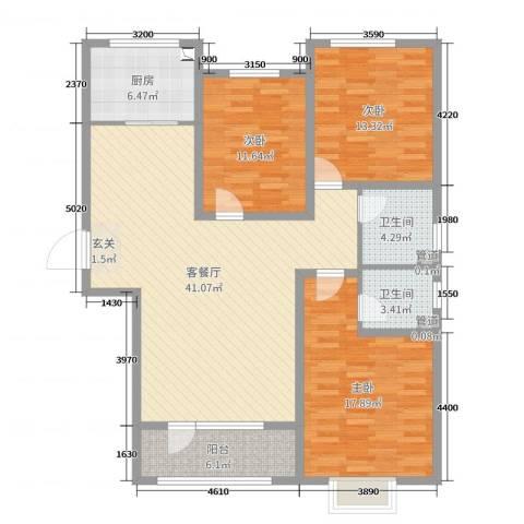 天洲视界城3室2厅2卫1厨131.00㎡户型图