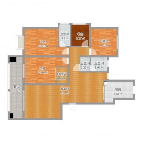 水运雅居4室2厅3卫1厨163.00㎡户型图