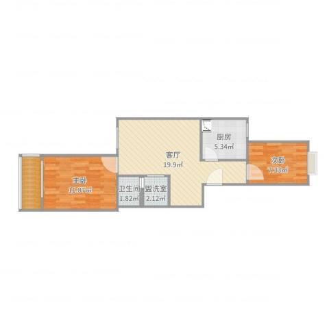 新华街五里2室3厅1卫1厨64.00㎡户型图