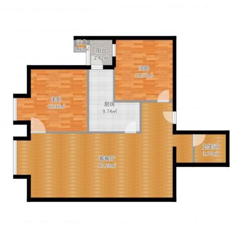 北京上舍2室2厅1卫1厨118.00㎡户型图