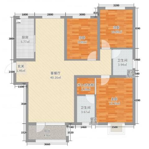 天洲视界城3室2厅2卫1厨139.00㎡户型图