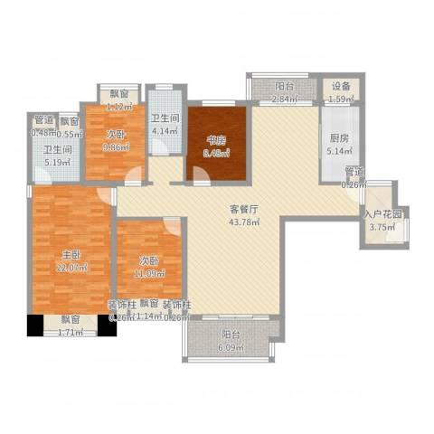 仁恒滨海半岛4室2厅2卫1厨157.00㎡户型图