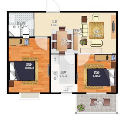 碧水云天颐园2室2厅1卫1厨63.00㎡户型图