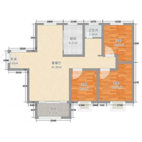 魅力熙郡3室2厅1卫1厨108.00㎡户型图