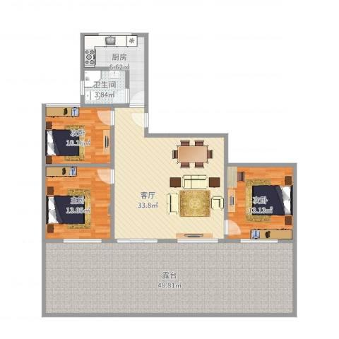 金桥湾清水苑3室1厅1卫1厨162.00㎡户型图