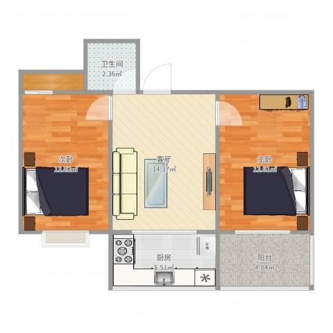 星河城Ⅱ2室1厅1卫1厨66.00㎡户型图