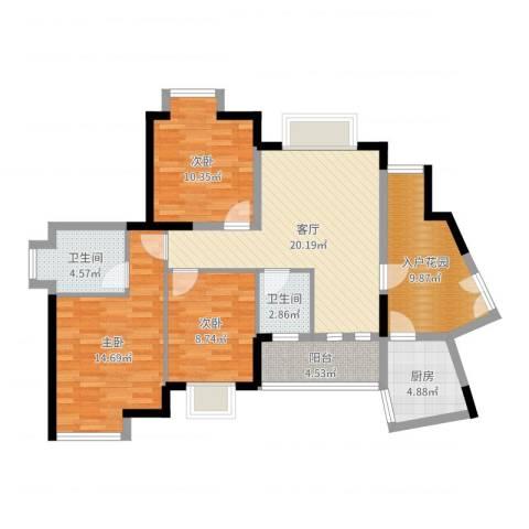 世纪金源御府3室1厅2卫1厨101.00㎡户型图